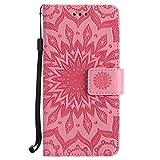 Nokia Lumia 635 Hülle,Nokia Lumia 635 Leder Sonnenblumen Hülle,Nokia Lumia 635 N635 Lanyard Wallet Schutzhülle,BONROY® Retro geprägte Sonnenblumen Muster PU Leder Flip Hülle Wallet Case Tasche Cover Handytasche Schutzhülle Lederhülle Handyhülle in Book Style Stand Case mit Kredit Kartenschlitz für Nokia Lumia 635 N635-rosa