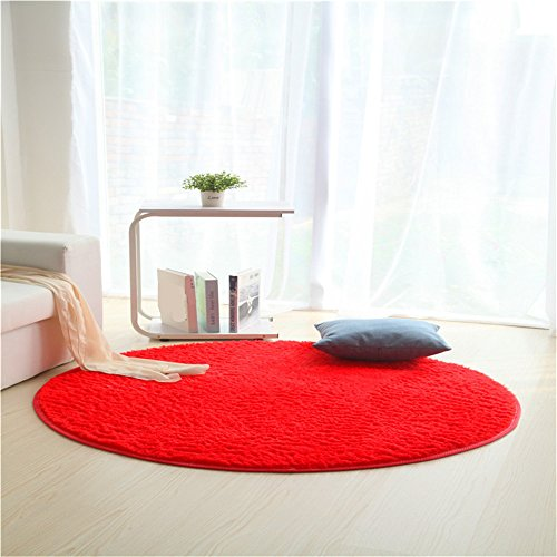 Alfombras, JeogYong Redonda Alfombra de Lana de Seda Artificial para Sala de Estar,Baño y Dormitrio (Rojo, 80cm)