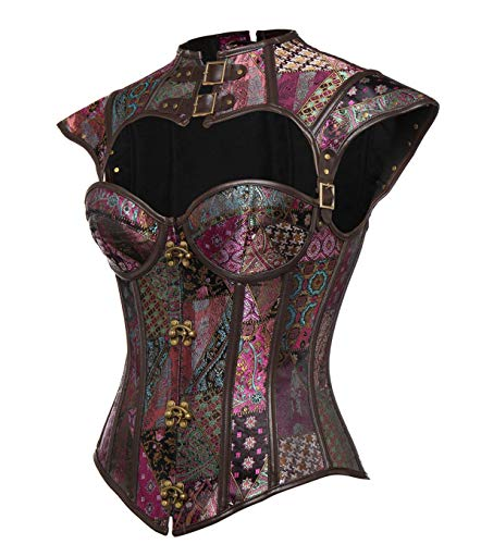 MISS MOLY Gothic Steampunk Corsé de Vestir Sexy Cuero Corset 12 Steel Bone Atractivo CinturaDelantero para Mujer