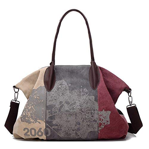 Gurscour Damen Handtasche Vintage Umhängetasche Canvas Retro Schultertasche 32cmx43cmx16cm Rot