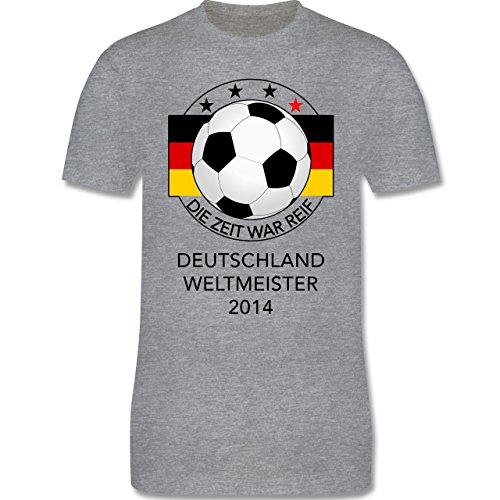 Fußball - Deutschland Weltmeister 2014 - Die Zeit war reif - Herren Premium T-Shirt Grau Meliert