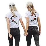 Shujin 1 Stücke Damen Mädchen Sommer Süß Partnerlook T-Shirt mit Rose Aufdrucken Best Friends Kurzarmshirt Freund Shirt Oberteile Tops (S, Die Rechte Rose 1)