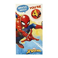 Age 4 Birthday Card - Spiderman Birthday Card with Spiderman Birthday Badge, 4th Birthday, Ideal Gift Card for Kids - Marvel
