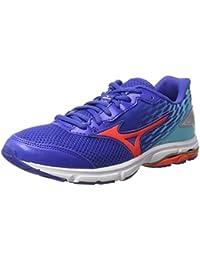 Mizuno  Wave Rider 19 Jr, Chaussures de Running Compétition fille - Bleu - Blue (Dazzling Blue/Fiery Coral/Capri)