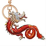 Nuevo Zodiac Dragon Key Fob Hanger Temperament Alloy Auspicious Dragon Adornos Colgantes Water Diamond Jewelry Gifts