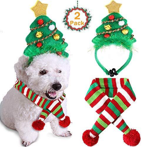 ostüm Weihnachtsbaum Stirnband verstellbar elastisch Bungee Weihnachten Kostüm für Katzen Hunde, Headband-L, grün ()