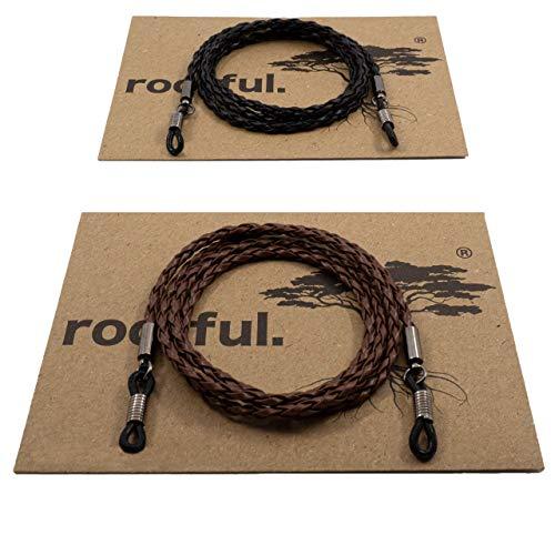 rootful.® URBAN BRAID Brillenband aus Leder 2er Pack (braun & schwarz) für Sonnenbrille und Lesebrille - Brillenkette - Brillenkordel (geflochtenes Glattleder)