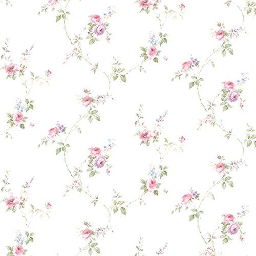Essener Floral Prints Vinyltapete PR33811 Weiß Grün Rosa Lila Blumen Landhaus Vintage Floral Blumen-print-tapete