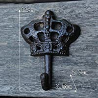 FUWUX HOME Crown Shape Retro Cast Iron Wrought Iron Coat Clothing Supplies Wall Decoration