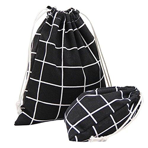 bigboba 2Kordelzug Staubbeutel Beam Tasche Baumwolle und Leinen Tuch Bag Travel Aufbewahrungstasche Geschenkbeutel, Leinen, schwarz, 14 X 16cm,19 X 24cm
