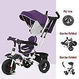 Triciclo plegable para niños 1-3 años Dirección del asiento Bebé Pedal Bicicleta Bebé Carrito...