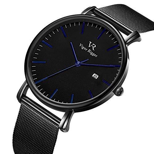 Vigor Rigger Watches Mens Womens ultradünne Armbanduhr Skinny Black Quartz Watch mit Datumskalender und blauem Zeiger aus Edelstahlgewebe