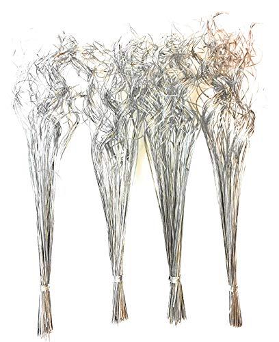 4 mazzi di rami decorativi essiccati e argentati tipo erba indiana, veramente speciali, alti 70-75 cm, peso 100 g per mazzo