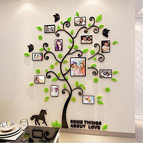 Alicemall 3D Wandaufkleber Grün Blätter Stereo Wandaufkleber Abnehmbare Wohnzimmer Schlafzimmer Kinderzimmer Sofa Möbel Hintergrund Wandtattoo (6x Bilderrahmen)