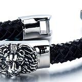 Geflochtenes Leder-Armband für Herren mit Edelstahl Löwe und Schwarz Echtes Leder Biker Armband - 4