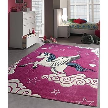 Anka Design Kinder Teppich Fuchsia Einhorn Kinderzimmer Spielteppich  Unicorn Pferd - 120x170 cm - schadstofffrei - Pink Rosa