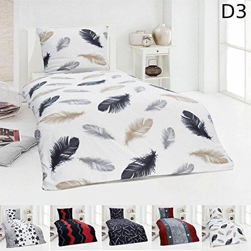 Warme Winter Microfaser Thermo Fleece Bettwäsche 135x200 155x220 Bettbezug Modern, Design - Motiv:Design 3, Maße:135 cm x 200 cm