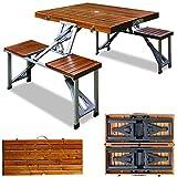 Deuba Camping Sitzgarnitur Alu Tischplatte Echtholz Kofferfunktion 4 Sitzplätze klappbar Campingtisch Campingmöbel Sitzgruppe