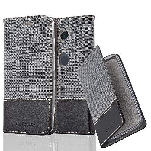 Cadorabo Hülle für Sony Xperia XZ2 COMPACT - Hülle in GRAU SCHWARZ – Handyhülle mit Standfunktion und Kartenfach im Stoff Design - Case Cover Schutzhülle Etui Tasche Book