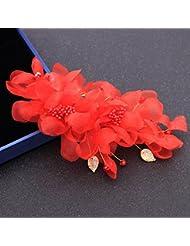 khskx-bride coreano joyería hecha a mano con cuentas tocado para la cabeza flores pelo Side (Juan Flores Vestido Accesorios Studio estilo Headdress, gules