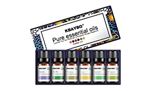 NEWKBO aceites Esenciales Juego de aceites Esenciales con 6aceites para aromaterapia 100% Puros 10ML Cada uno (Lavanda, árbol del té, Eucalipto, citronela, Naranja Dulce, Menta)