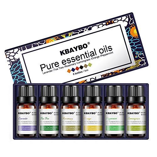 Oli essenziali set, anjou aromaterapia fragranza dell' olio, 100% puro, 6x 10ml (lavanda, albero del tè, rosmarino, citronella, orange, menta piperita)
