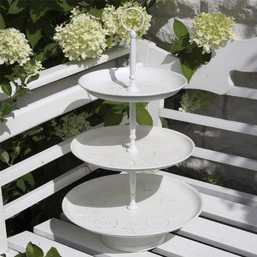 Etagere FLEURS 3-stöckig cremeweiß Metalletagere weiß antik mit Blumenrelief H46 -
