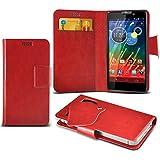 (Red) Motorola RAZR HD XT925 Super dünne Kunstleder Saugnapf Wallet Case Hülle mit Credit / Debit Card SlotsBy Spyrox