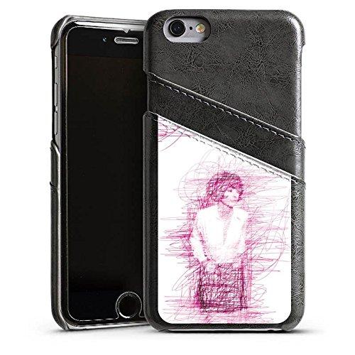Apple iPhone 5 Housse Étui Silicone Coque Protection Fille Dessin Gribouillage Étui en cuir gris