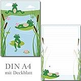 Schreibblock lustige Frösche 25 Blatt Format DIN A4 mit Deckblatt 7100