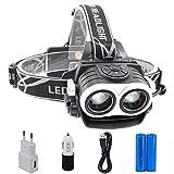 Huntvp Linterna Frontal 6000 Lúmenes CREE 2*XML-T6 LED Faro Impermeable y Adjustable 3 Modos Super Brillante Lámpara de Cabeza Bastante Ligero con Cargador EU para Pescar Montar en Bici etc