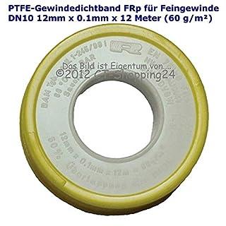 PTFE thread sealing tape (Teflon tape) FRp for fine thread DN10 to DIN EN 751-3, 12 mm x 0.1 mm x 12 m (60 g/m²), white, 4011210