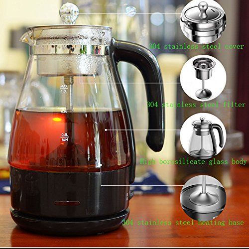 Z&X ZX Electric Kettles Electric Boiled Teapot Automatic Steam High Boron Glass 304 Stainless Steel 1.0L 600W Black Small Kitchen