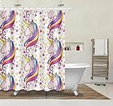 Herz Stern Karikatur Einhorn, Duschvorhang für Mädchen, 150W x180H CM, wasserdicht, Polyester Stoff, Bad Duschvorhang, gelb, rot, lila