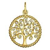 Clever joyas dorado colgante vida árbol 17mm de diámetro con borde retorcido circonita brillante y muchos en blanco 333Oro 8quilates en estuche