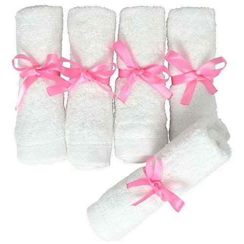 MINOTO 100% Bambus Mikrofaser Reinigungstücher (5er Pack) – besonders weiches Gesichtsreinigungstuch – waschbar & antibakteriell – für die schonende Gesichtsreinigung – weiß – 25x25cm