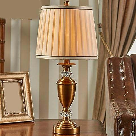 ZPSPZ Desk Lamp All Copper Bedroom Bedside Living Room Villa
