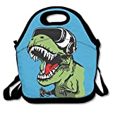 Caps big Lunch Tote Bag Fashion Dinosaurs with Goggles Insulated Lunch Box Food Bag Pouch Tote Bag for Adults, Kids School Work Picnic Reusable Container Neoprene