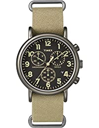 Timex Weekender Chrono oversize | quadrante tan in nylon nero | casual orologio