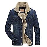 VICGREY Giacca in Denim da Uomo Giacche di Jeans Invernali e Autunno Manica  Lunga Casual Jacket b0a5d0906b5