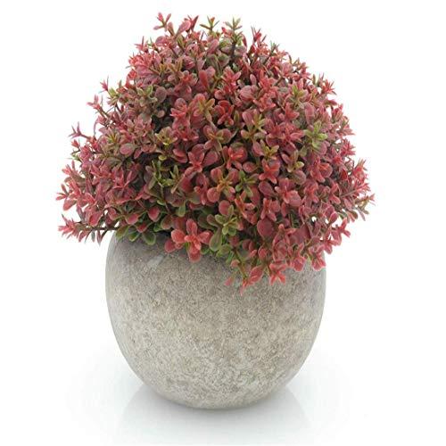 MOBDY Künstliche Blume, Topfpflanze Mini Kunststoff Künstliche Kiefer Ball Topiary Pflanze mit Töpfen für Wohnkultur (Rotklee) - Ball Topiary Silk