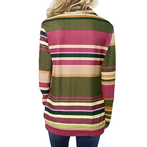 SANFASHION Damen Sweatshirt Gestreift Rollkragen Loose Tops Farbblock Langarm Herbst Tunik S-XXL -