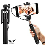 #7: Almani Nokia Lumia 730 Dual SIM Compatible Selfie Stick With Aux Wire Cable, No Bluetooth and Charging Required-Black