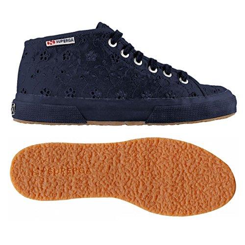 SUPERGA 2754 Satin Sneaker Halbhoch mid cut Weiss Blumen 38 39 40 S008C60 FULL BLUE