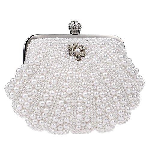 Damen Abendtasche Perle Kristall Schale Handtasche Hochzeit Party Geldbörsen. 19 X 14 Cm white