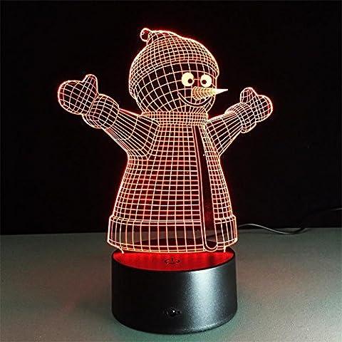 Muñeco de nieve de la lámpara de escritorio 3d 7 colores Cambio Touch interruptor de la mesa de control remoto LED de luz de la noche de iluminación la decoración del hogar accesorios para el hogar