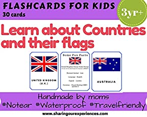 SOE store - Countries and Flags Flashcards for kids (perfect for preschoolers )| Learn about countries and flags easily with these laminated and waterproof flashcards