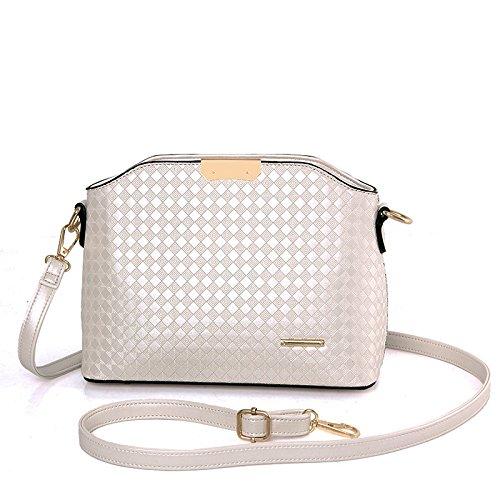 HYP einfachen Damen Tasche Handtasche Tasche Schultertasche Messenger Bag Single Schulter obliquer Querschnitt Paket weiblichen Tasche Argyle geprägt, Pearl White