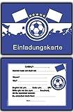 14 x Fussball Einladungskarten Blau Weiss Kindergeburtstag Einladung Jungen Kinder Geburtstag - 20 Stück