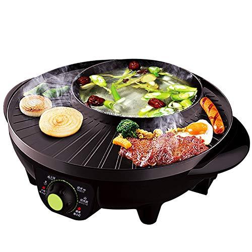 Elektrische Induktion Hot Pot Kocher, Edelstahl Hot Pot Braten Koch Küche Pfanne Multi-kocher Reis Kochfeld Suppe Nupsore Maker-schwarz 33.5x38x13.4cm(13x15x5inch) - Topf Reis Maker